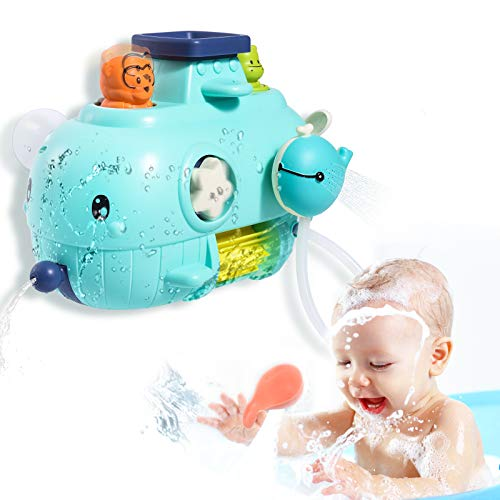 Joyjoz Baby Badespielzeug, 5 in 1 Badewannenspielzeug Wal Badewannen Wandspielzeug mit Wasserfall, Wasserspray & Spin, Duschgeschenk für Kleinkinder, Kinder 1 2 3 4 Jahre