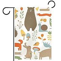 ウェルカムフラワーリースガーデンフラッグヤード両面森の動物 パティオ芝生の家の屋外の装飾の春のための庭の花の旗