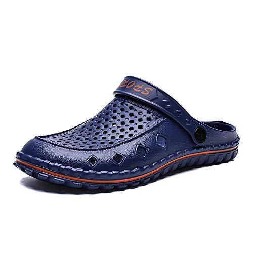 ZHANGNING Sandalias de Cuero Sandalias de Madera Zapatos de Agua para Hombre Estilo de Deslizamiento de plástico Hueco Color sólido de Doble Uso Fresco y Fresco Sandalias de Playa