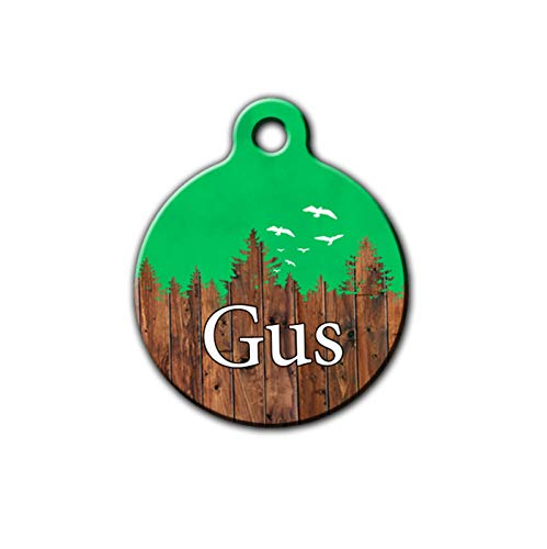 Dog tag for boy dogs,Green Pet id tag, Rustic pet tag, Wilderness pet tag, personalized aluminum pet id tag