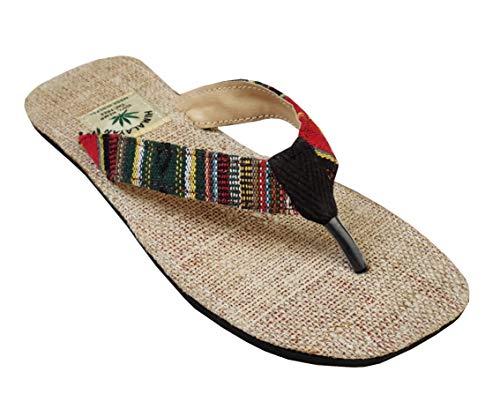 Handgemachte Flip Flops/Sandalen/Zehentrenner mit Fußbett aus natürlichem Hanf - Unisex - Made IN Nepal (45 EU, Forrest)