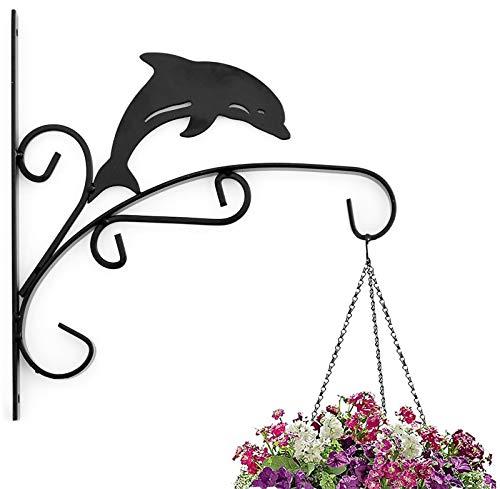 Fackel Hängende Pflanze Halterung Haken Eisen Deko Pflanzenkorb für Blumenkorb Vogelfutterhaus Windspiel Laternen mit Schrauben (Dolphin)