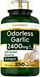 Odorless Garlic Softgels | 2400 mg | 250 Count | Ultra Potent Garlic Extract | Non-GMO & Gluten Free Pills | by Horbaach