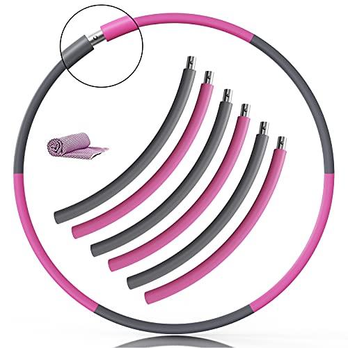 SHINEZONE Hoola Hoop Reifen Erwachsene, Verbesserter Edelstahlkern mit Dicker Premium Schaumstoff,6 Segmente Abnehmbarer für Fitness/Sport/Zuhause/Büro/Bauchformung,mit Kühlhandtuch