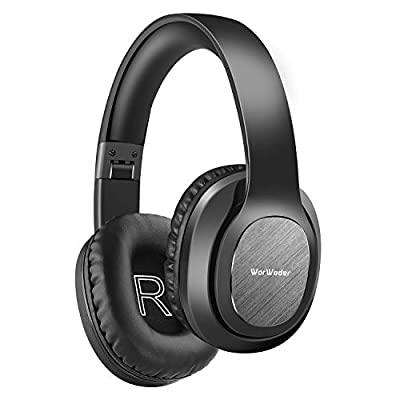 WorWoder Bluetooth Headphones Over Ear, [50 Hrs Playtime] Wireless Headphones, Foldable Hi-Fi Stereo, Soft Memory Protein Earmuffs, Built-in Microphone ? Wired Mode for Cellphone PC(Black) from WorWoder