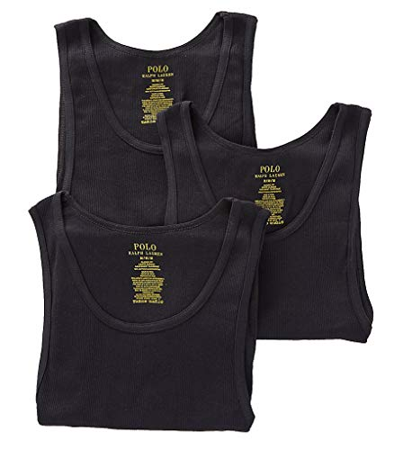 Polo Ralph Lauren Classic Fit Ribbed Tank with Moisture Wicking 100% Cotton - 3 Pack, Black, X-Large