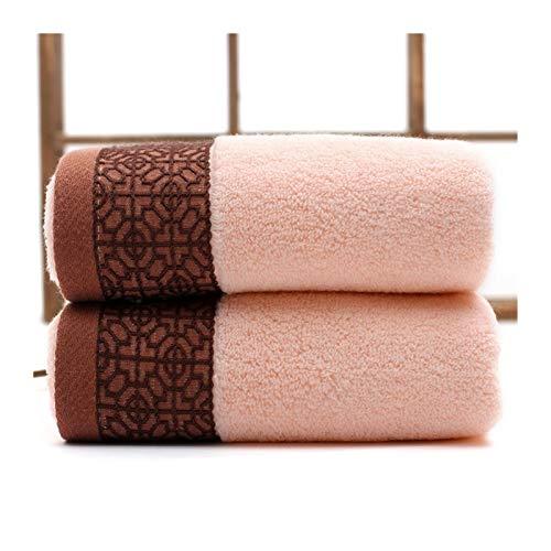 ZXF Toallas de baño engrosadas de algodón Absorbente Suave Toallas de baño Impresas de Estilo Europeo Grande y Toallas de Cara Cuarto de baño (Color : Pink 2pcs Towel)
