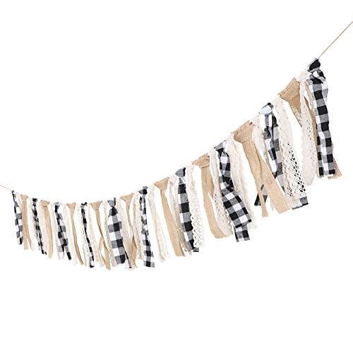 VOSAREA Tassel Garland Lace Burlap Banners Rag Tie Banners Rustic Banner for Wall Decoration