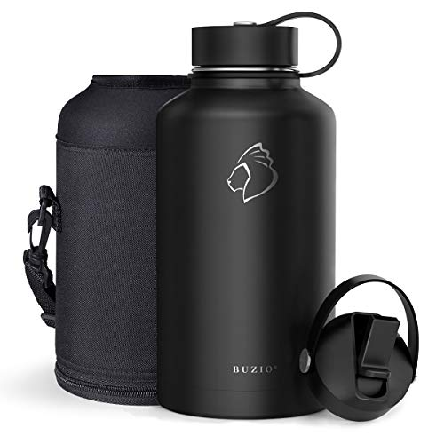 BUZIO Vacuum Insulated Stainless Steel Water Bottle 64oz (Cold for 48 Hrs Hot for 24 Hrs) BPA Free Double Wall Travel Mug Flask for Outdoor Sports Hiking, Cycling, Camping, Running