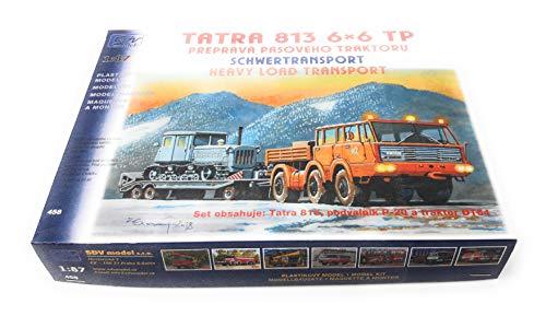 SDV LKW Tatra 813 6x6 TP Anhänger P 20 Traktor DT 54 Modellbau Kunststoff Modellbausatz 1:87 H0