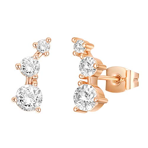 PAVOI 14K Gold Plated Sterling Silver Post Mini Constellation Rose Gold Cubic Zirconia Ear Crawler Earrings  Tiny Faux Diamond Sterling Silver Post Ear Climber Fashion Earrings for Women or Girls