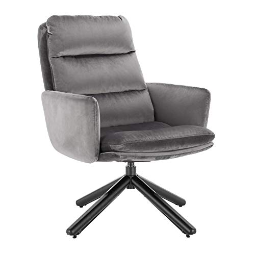 WOLTU SKS21dgr Ohrensessel Relaxsessel Design Sessel Polstersessel Fernsehsessel mit Armlehne, Dicke Polsterung aus Samt, Massivholz, Metall, 360° frei drehbar, Dunkelgrau