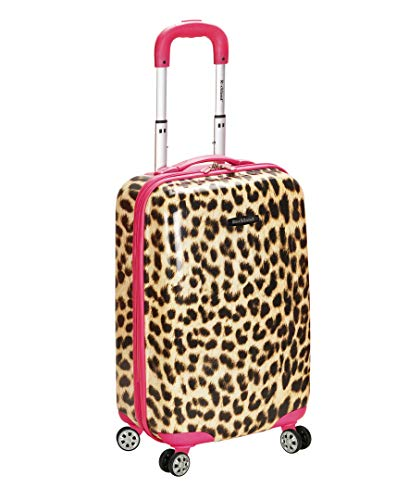 Rockland Safari Hardside Spinner Wheel Luggage, Pink Leopard, Carry-On 20-Inch