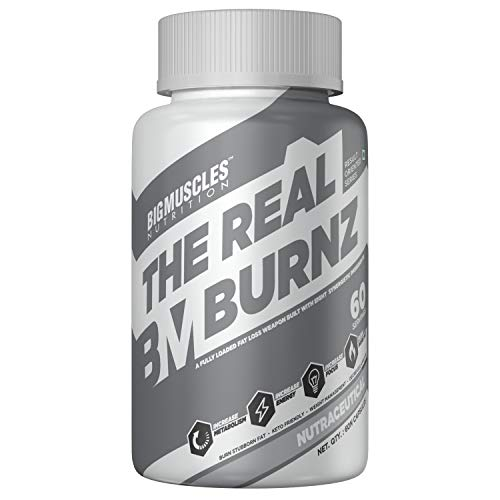 Bigmuscles Nutrition The Real Burnz Fast Acting Fat Burner (60N) | Weight Management | Increased Energy, Endurance & Focus | Burn Stubborn Fat | Keto Friendly