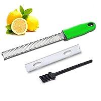 seekool citrus lemon zester & grattugia, professionale zester grattugia di alta qualità acciaio inossidabile, per formaggio, frutta e verdura, spazzola di pulizia e coperchio di protezione