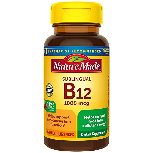 Nature Made Vitamin B12 1000 mcg, Dietary Supplement for Cellular Energy Support, 150 Sublingual Lozenges, 150 Day Supply