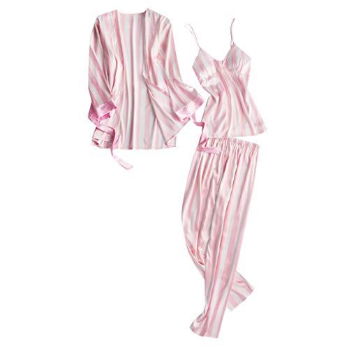 KaloryWee 3pc Ensemble Pyjama à Rayure Manche Longue Hiver en Satin à Bretelle Nuisette Pas Cher Chic Chemise Et Bas Femme Mode Col V Lingerie Veston D'intérieur Soir Noël + Pantalon + Veste