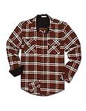 Tinkwell Camisa de franela de manga larga a cuadros para hombre, de algodón, para el tiempo libre, de franela, leñador, a cuadros, marrón, XXXL
