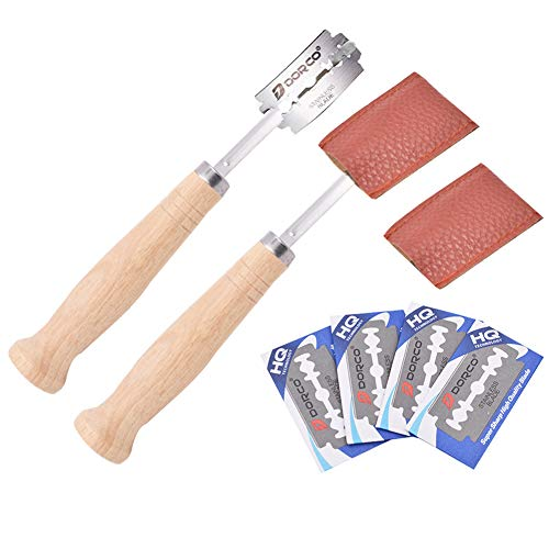 BESLIME Bäckermesser,Französisches Brotmesser, Brotmesser Mit Holzgriff,Messer zum Schneiden von Brot Eine + 4 Ersatzrasierklingen + Lederschutzhülle