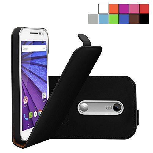 COOVY® Cover für Motorola Moto G (3. Generation Model 2015) Slim Flip Hülle Tasche Etui inklusive gratis Bildschirmschutzfolie | Farbe schwarz