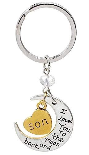 Sleutelhanger met gouden hart hanger met schrijven - zoon - en zilveren maan hanger met schrijven - iyou - cadeau-idee voor man vrouw i love you to the moon and back son