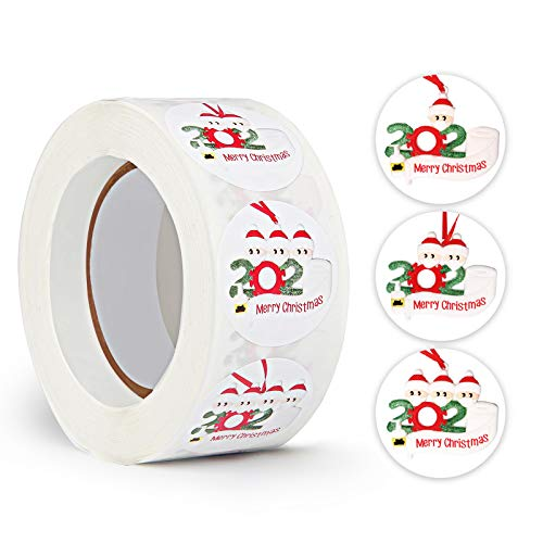 Gigilli Christmas Stickers Roll for Kids, Christmas Ornaments Stickers for Cards Gifts Craft Party Decoration Supplies 2020 Quarantine Survivor Round Label 500PCS Per Roll(1 Roll)