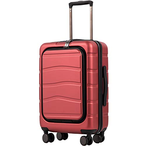 COOLIFE Luggage Suitcase Carry On 100% PC Spinner Trolley with Laptop pocket Compartmnet Luggage Set Weekend Bag (diamond red, 20in(carry on))