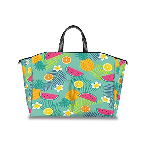 Bolsa de pañales con hojas de flores tropicales de frutas tropicales, organizador de cochecito de bebé, impermeable, para mamá, bolsas de viaje con correa de velcro ajustable