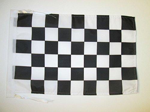 AZ FLAG Flagge ZIELFLAGGE SCHWARZES UND WEISSES 45x30cm mit Kordel - SCHWARZ-Weisse RENNFLAGGE Fahne 30 x 45 cm - flaggen Top Qualität