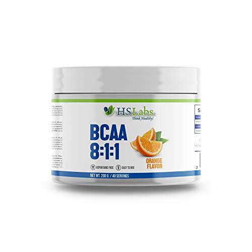 HSLabs BCAA 8 1 1 Pulver Amino Drink Aminosäuren Komplex Hochdosiert Getränk mit Leucin Isoleucin Valin Muskelregeneration Tollem Geschmack und Neutral Unflavoured 400g 200g 40 80 Portionen
