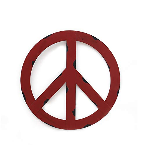 """YK Decor Metal Treasured Red Peace Sign Wall Hanging Ornament Home Door Decor Decorative Signs (12"""")"""