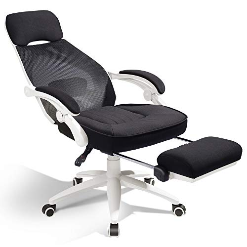 DEVAISE Ergonomics Recliner Office Chair, High Back Mesh Computer Desk Chair with Adjustable Lumbar and Footrest Support, White