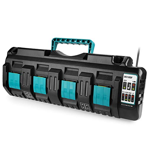 Energup Ersatz DC18SF 4 Port Ladegerät für Makita 14,4V ~ 18V BL1830 BL1840 BL1850 BL1860 BL1815 BL1430 Werkzeugakkus