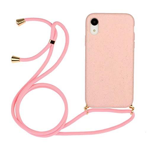 iPhone Xr Telefoonhoesje met Ketting Koord Houder Snoep Transparante Zachte TPU Cover met Schouderhals Koord Lanyard Band Beschermende Case met voor iPhone Xr iPhone Xr roze