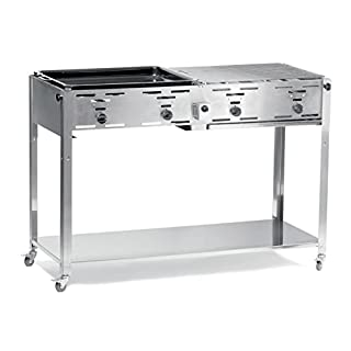HENDI Grill-Master Quattro, Elektronisches Zündung, mit Gasschlauch und Druckminderer, nur für Verwendung im Aussenbereich, 22kW(Hs), 1270x525x(H)840mm, Edelstahl 18/0 (B00TECYFM4) | Amazon price tracker / tracking, Amazon price history charts, Amazon price watches, Amazon price drop alerts