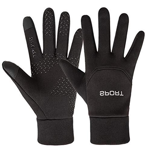 VORCOOL Gants de Sport en Plein air Écran Tactile Full Finger Hiver Gants de Protection Coupe-Vent Hommes Femmes (Noir, Taille L)