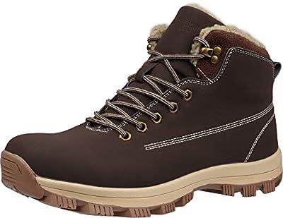 WHITIN Men's Insulated Work Boots Zapatos Botines Botas De Trabajo para Hombre Waterprof Hiking Trekking Construcion Cuero Casuales Senderismo Invierno La Nieve Black Size 7