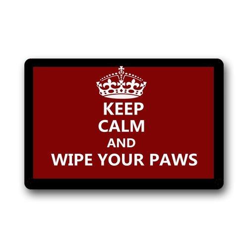 """Custom Lavable Felpudo Keep Calm y Wipe Your Paws Uso en Interiores/al Aire Libre Felpudo 23.6""""(L) X 15,7(W)"""