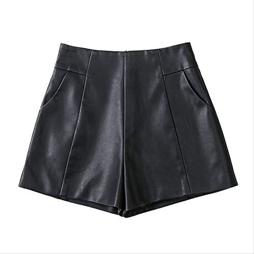 Ledershorts, stilvolle, hoch taillierte, dünne A-Linien-Hosen mit weitem Bein, Pu-Lederhosen, Stiefel mit bodenständigem Stiefel, M schwarz