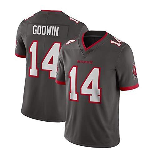 EBDC Godwin 14# Buccaneers Rugby Jersey para jóvenes, aficionados al fútbol americano ropa deportiva, para hombre, camiseta de manga corta bordada (-XXXL), Neutral, Hombre, color gris, tamaño 3XL (197 cm+)
