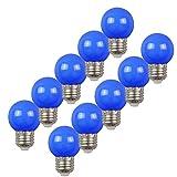 Cubierta en espiral E27, 2W, luz LED Edison, luz azul de golf, fiesta de fiesta para patio en terraza, paquete de 10