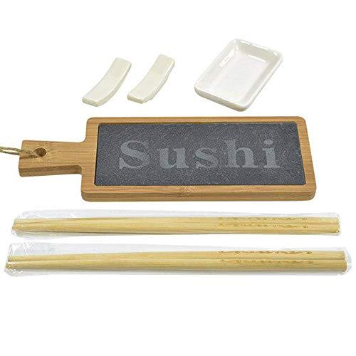 BAKAJI Set Sushi 6pz Cibo Giapponese Servizio per 2 Persone con Bacchette in Bamboo Ciotola per Salse in Ceramica Portabacchette e Vassoio in Legno e Ardesia con Manico