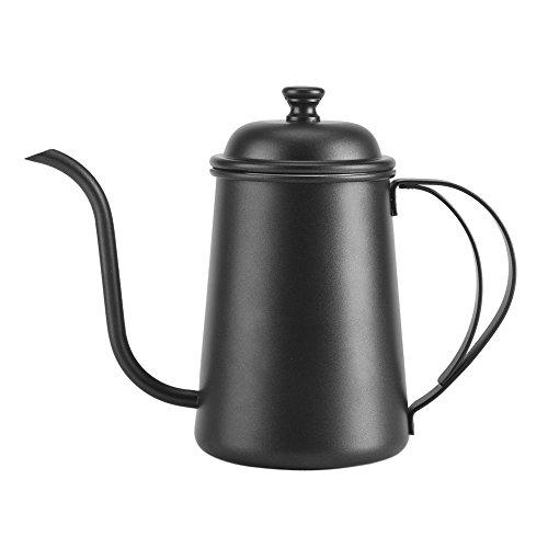 Yosoo Kaffeekanne, Teekanne mit Ausguss, Wasserkocher aus Edelstahl, Kaffeekessel für Bar, Haus, 5 Farben, 650 ml (schwarz)