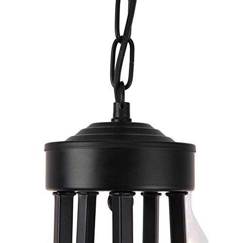 Iglobalbuy Vintage Eisen Kronleuchter 5 Kerze Stil Decke Pendelleuchte für Wohnzimmer Esszimmer - 7