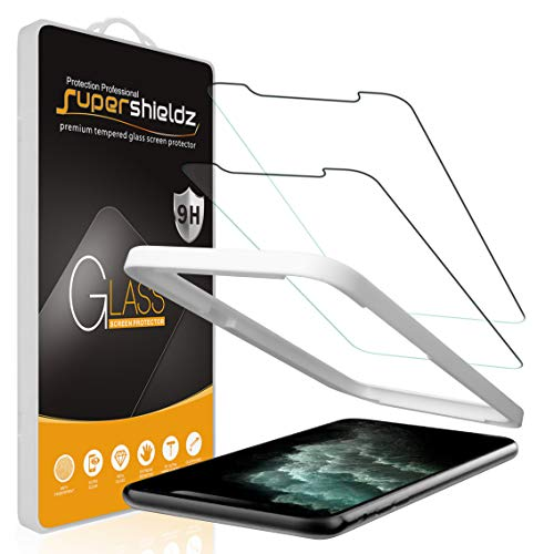 (2 Pack) Supershieldz for iPhone 11 Pro, iPhone Xs and iPhone X (5.8 inch) Tempered Glass Screen Protector with (Easy Installation Tray), Anti Scratch, Bubble Free