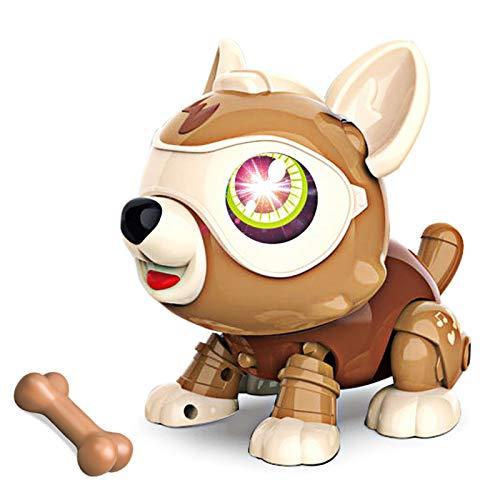 Funight DIY Robot Dog Animals Toy, Kids Smart Puppy Interactivo Muñeca Educativa Inteligente con Hueso, Selieve Toys para Niños De 3 A 12 Años De Edad O Regalo para Niñas marrón