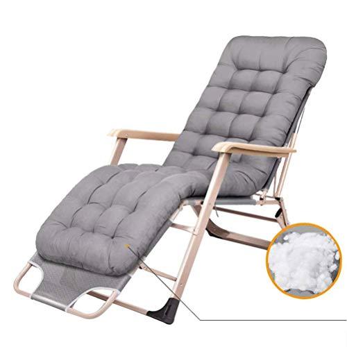 BH Mecedora de jardín reclinable con Cojines para Personas Pesadas Cubierta de Patio al Aire Libre Balancín Plegable Asiento de Gravedad Cero Soporta 200 kg (Color: Gris)