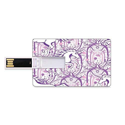 32 GB Unidades flash USB flash Unicornio Hogar y Decoración Infantil Forma de tarjeta de crédito bancaria Clave comercial U Disco de almacenamiento Memory Stick Unicornio galopando en ramas de árboles