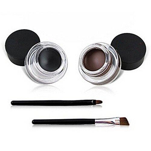 Demarkt Wasserdicht Gel Eyeliner Make up Kosmetik Augen Tools Schwarz und Braun mit 2 Bürste