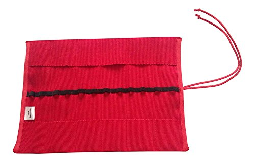 Natural Cotton Waldorf Crayon Roll - A Holder for Stockmar and Other Crayons (Red)